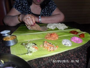 South Indian food served on banana leaf